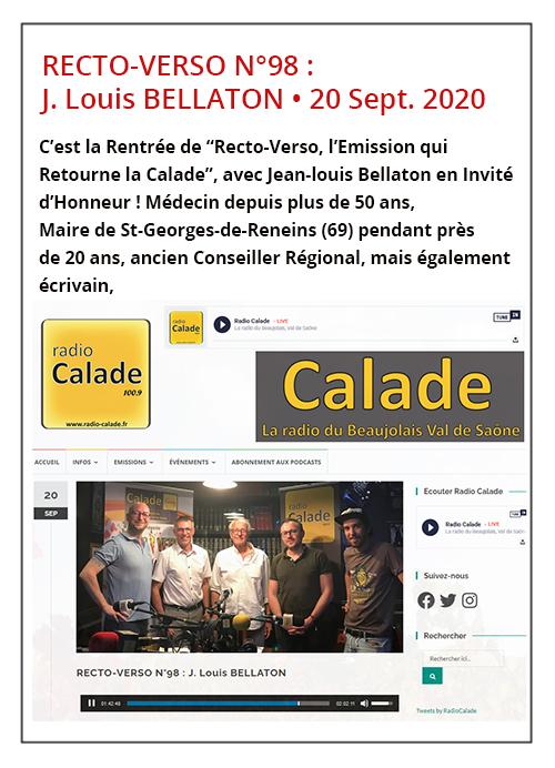 RECTO-VERSO N°98: Jean-Louis Bellaton - Radio Calade 20/09/20