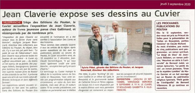 Jean Claverie expose ses dessins au Cuvier – Le Patriote 03/09/20