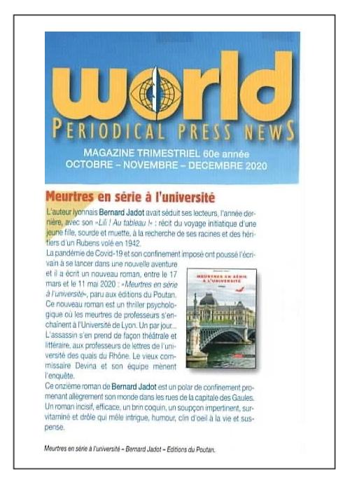 Meurtres en série à l'université - Word Periodical Press News - Nov. 2020