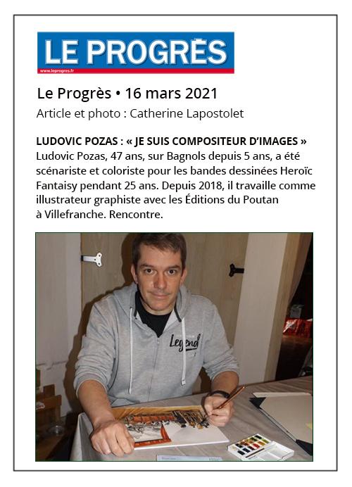 Ludovic Pozas: Je suis compositeur d'images - Le Progrès 16/03/2021