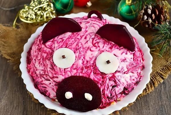 Салаты на Новый год 2019 в виде Свиньи: пошаговые рецепты ...