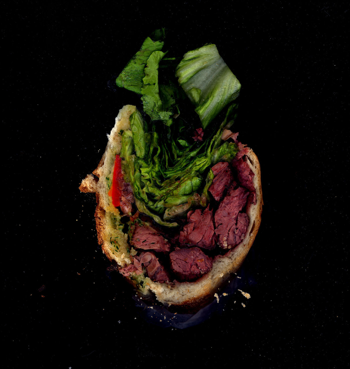 Mooncake: Steak, Peppers, Lettuce, Herbal Mayo on a baguette