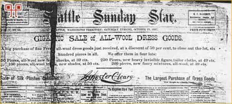 Naslovnica Seattle Sunday Stara iz 1887. godine