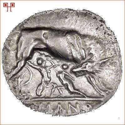 Rimski novčić iz III.st.pr.Kr. na kojem su prikazani blizanci s vučicom