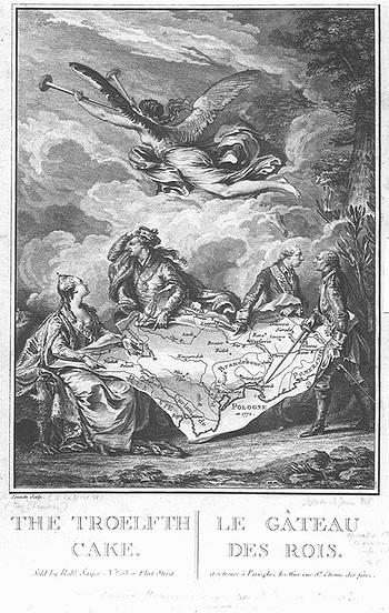 """""""Kraljevski kolač"""" - alegorija Jean-Michel Moreaua na prvu podjelu Poljske"""