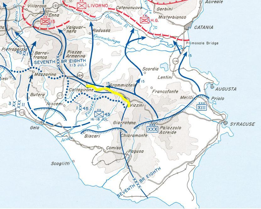 Sporna cesta Vizzini-Caltagirone (označena žutom).