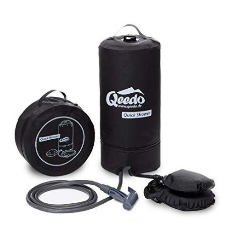 Qeedo Campingdusche Quick Shower, Tragbare Dusche mit Fußpumpe, 11L, Schwarz