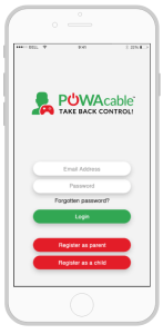 POWAcable app login screen