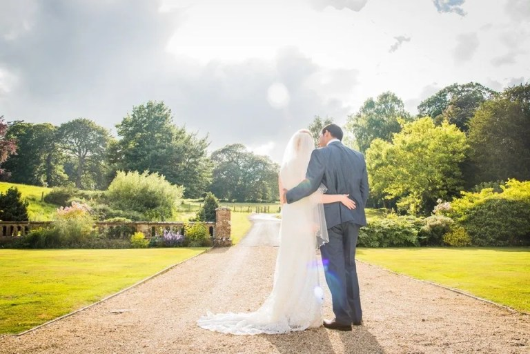 Bride and Groom on Their Wedding Day at Dillington House in Somerset