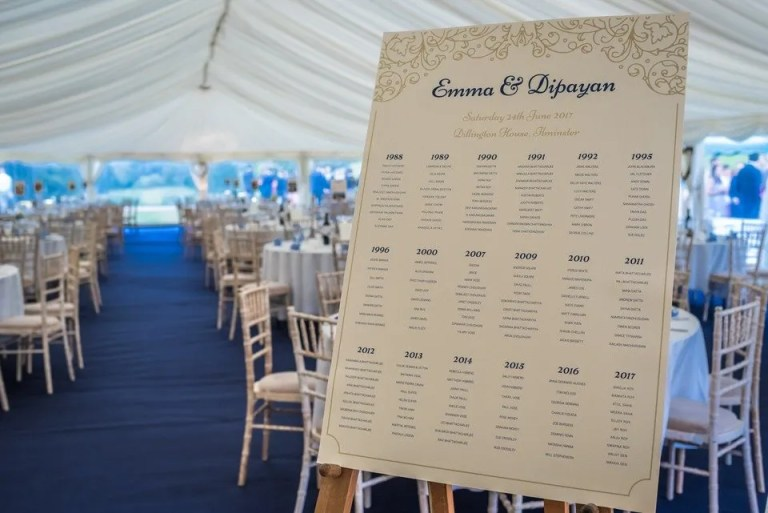 Wedding table plan at Dillington House in Somerset