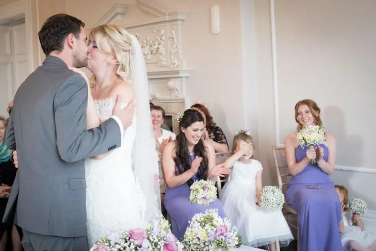 Eastwood Park wedding first kiss