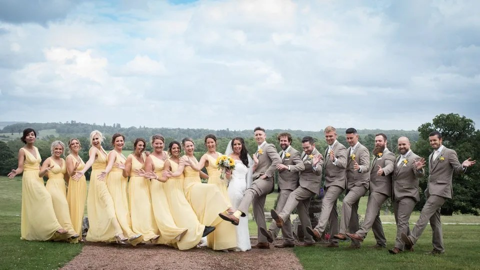 Wedding party at Eastwood Park in South Gloucestershire