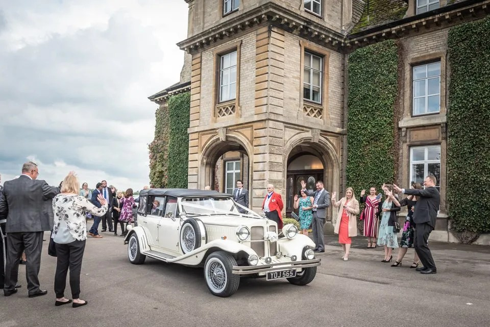 Wedding car at Eastwood Park in South Gloucestershire