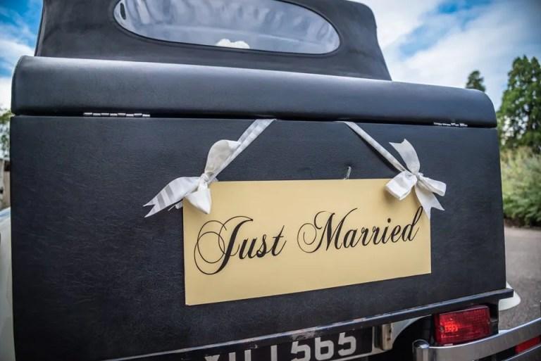Wedding car at Eastwood Park wedding