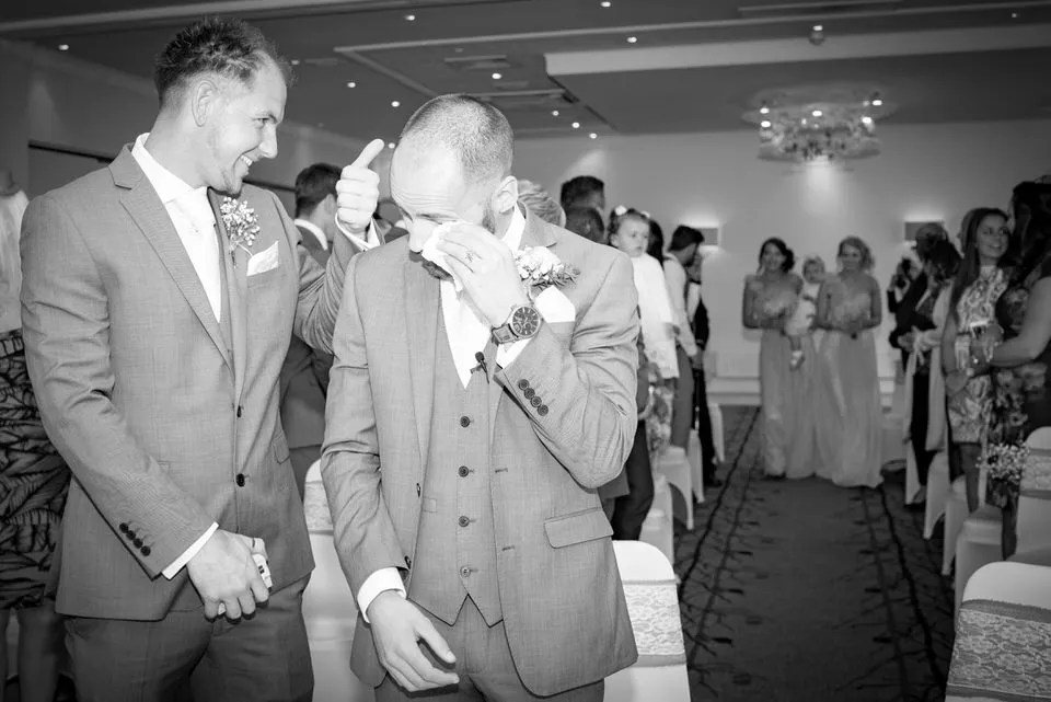 Groom crying at the Grange Mecure Hotel in Bristol