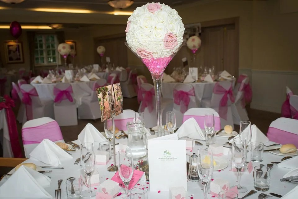 Wedding tables at Leigh Park hotel in Wiltshire
