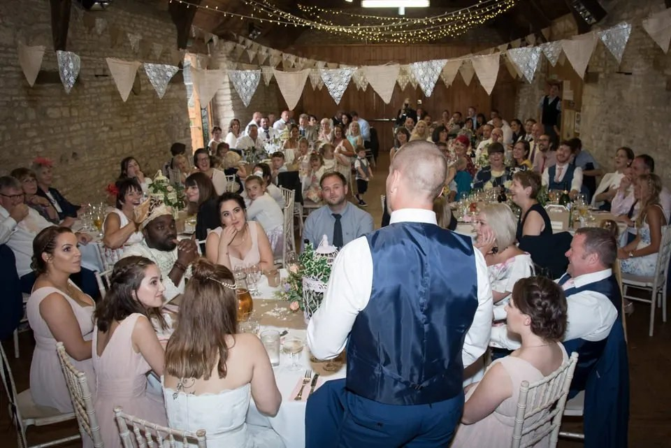 Wedding speeches at Mells Tithe Barn in Somerset