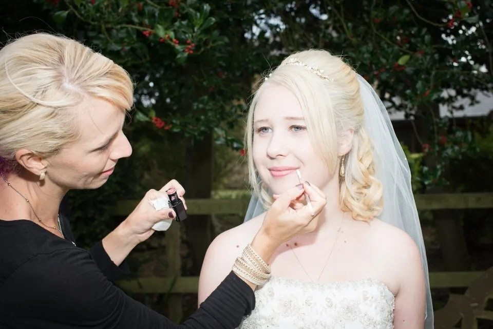 Wedding makeup Wedding photos at Old Down Manor in Bristol
