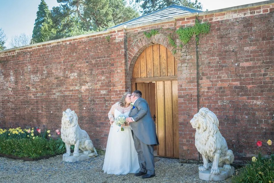 Bride and Groom on their Wedding Day at Orchardleigh Estate in Somerset