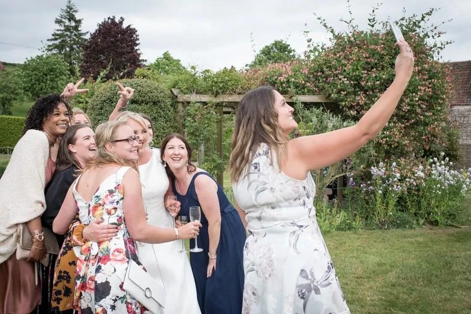 Wedding selfie at Priston Mill in Somerset