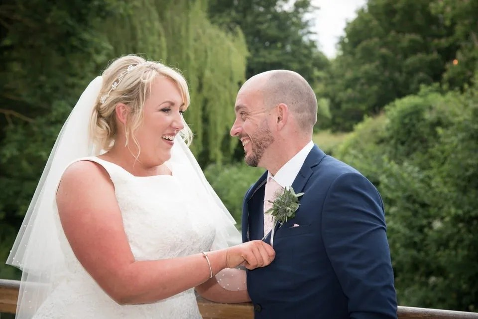 Bride and Groom Getting Married at Priston Mill in Somerset