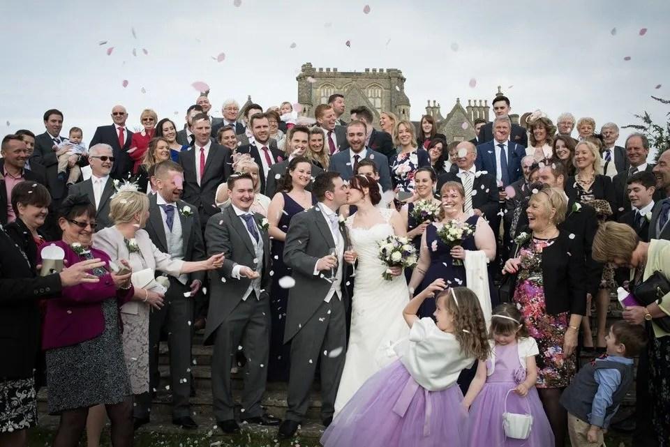 Wedding confetti at Tortworth Court in Bristol