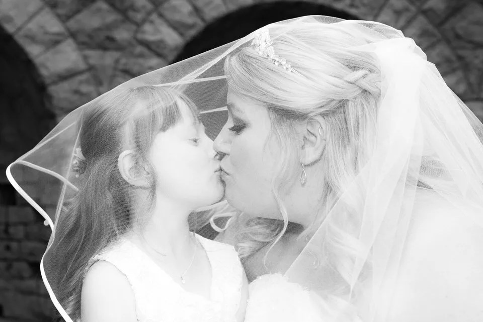 Bride and daughter at Tortworth Court in Bristol