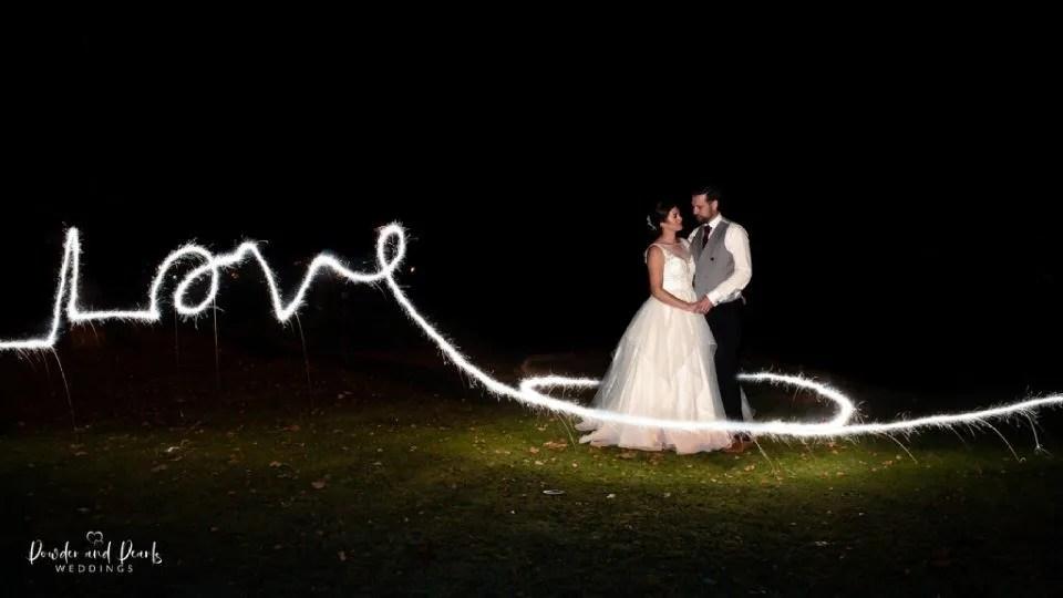 wedding couple love sparkler photo