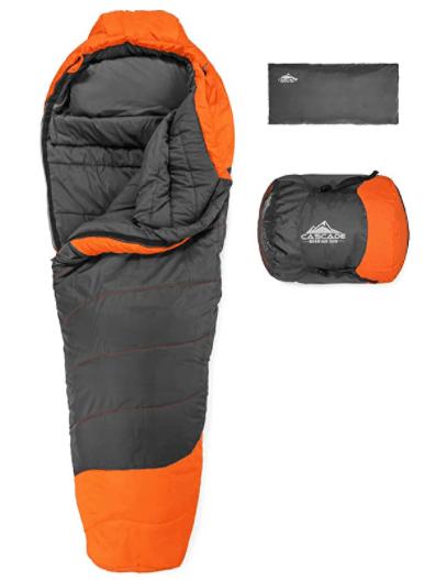 Cascade Mountain Tech Mummy Sleeping Bag with compression sack
