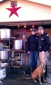 Our first brew session.
