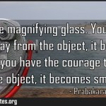 Fear is like magnifying glass You place the lens away from the object it becomes Meaning