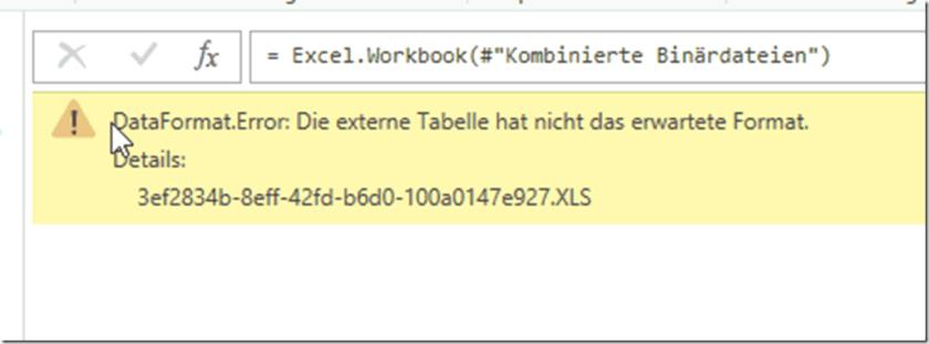Fehlermeldung xlsx kombinieren
