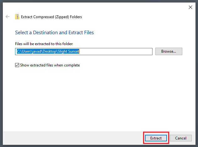 Extract Compressed folder dialog box.