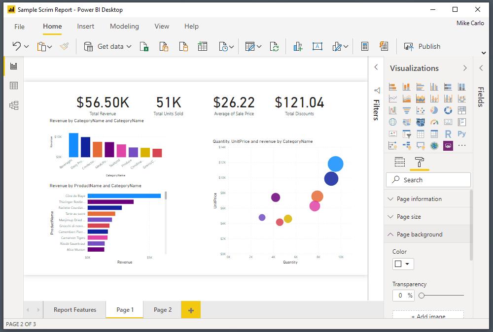Image of a Power BI report in Power bi desktop