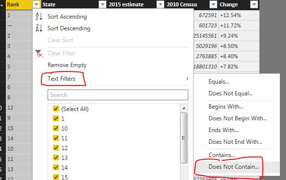Text Filter on Rank Column