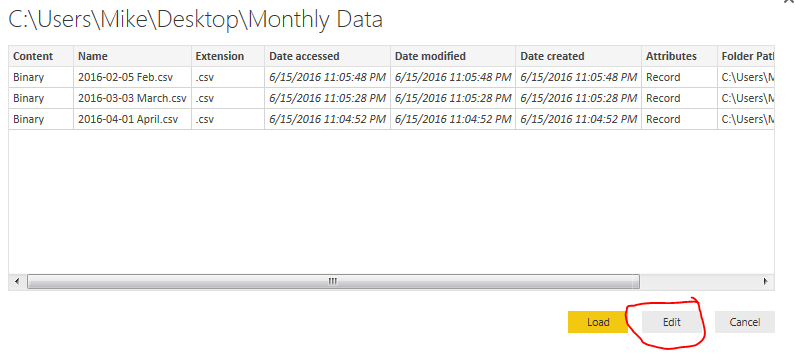 Edit Query for Folder Load