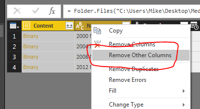Remove Other Columns