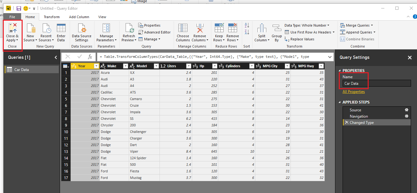 Car Data in Query Editor