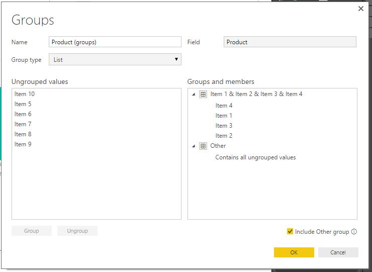 Grouping Dialog Box