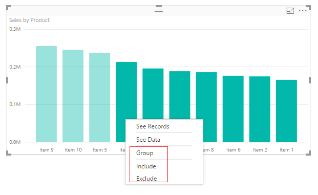 Right Click on Selected Data Bars