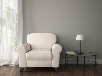 Part of interior with white armchair 3D