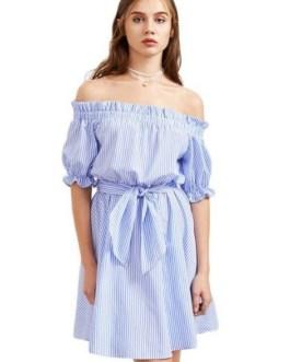 Stripe Off-shoulder Tie Half Sleeve Mini Dresses