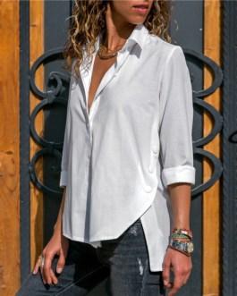 Solid Office Blouse Fashion Button Side Split Blouses