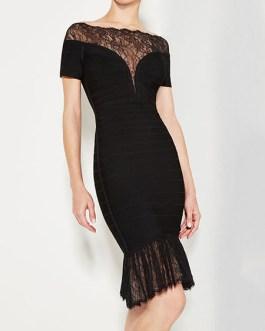Club Dress Bateau Neck Short Sleeve Lace Semi Sheer Ruffles Mermaid Women's Bodycon Dresses