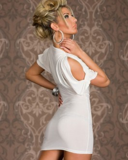 Cold-Shoulder Milk Silk Sexy Club Dress for Women