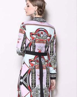 Long Sleeve Shirt Dress Printed Long Dress