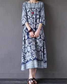 Loose Retro Printing 3/4 Sleeve Maxi Dress