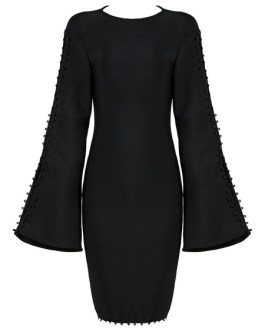Party Dresses Long Sleeve Round Neck Split Women Bodycon Dress
