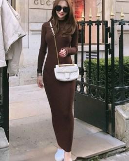 Women Long Knitted Dress Round Neck Long Sleeve Shaping Dress