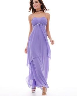 Women Party Dress Lilac Straps Sleeveless Rhinestones Pleated Layered Chiffon Maxi Dresses